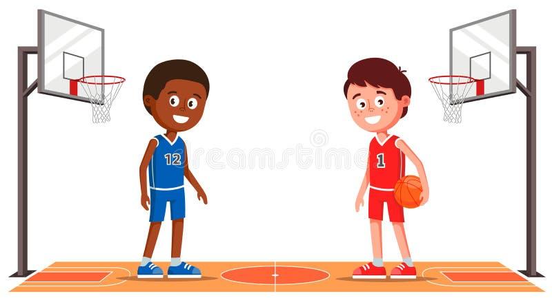 与篮球运动员的篮球场 体育馆 ?? 皇族释放例证