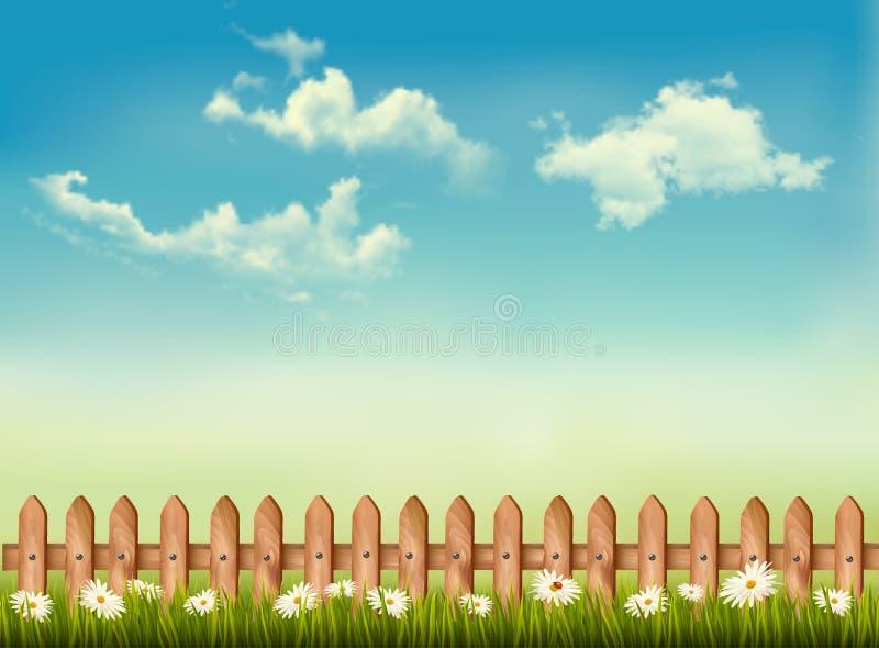 与篱芭、草、天空和花的减速火箭的背景。 库存例证