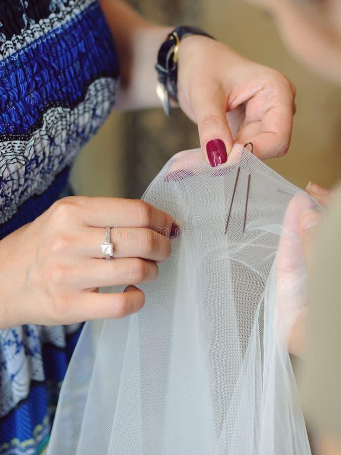 与簪子的面纱 库存图片