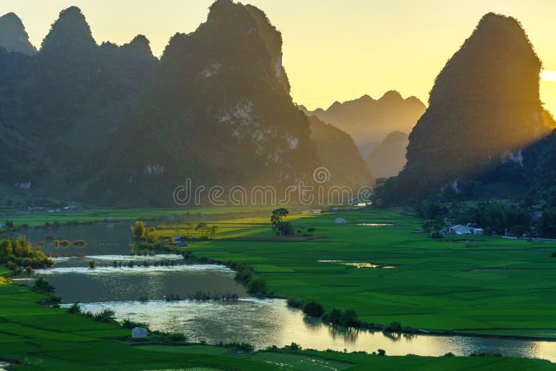与米领域、河、山和低云的越南风景在清早在Trung Khanh,高平镇,越南 免版税库存照片