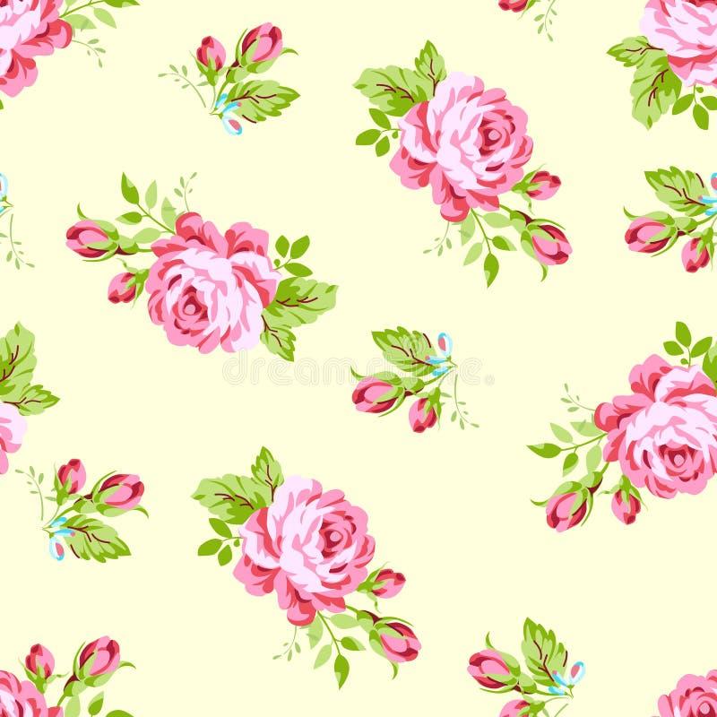 与粉红彩笔玫瑰的样式 库存例证