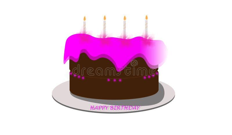 与粉色的生日快乐蛋糕 库存例证