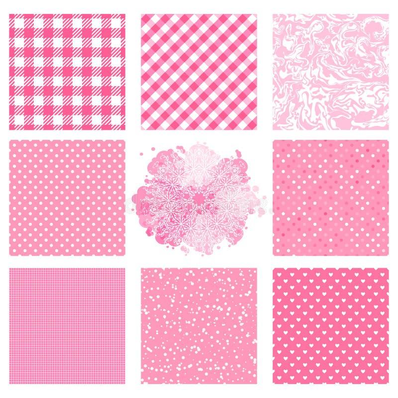 与粉色纹理的集合无缝的样式 另外圆点,方格的样式 传染媒介摘要表面设计 向量例证