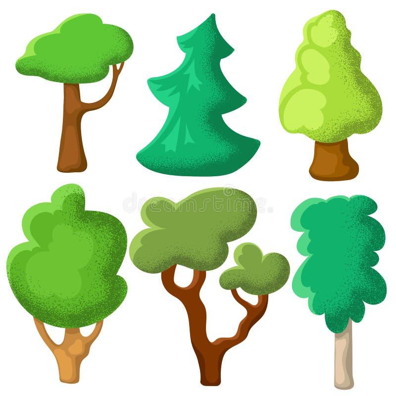 与粒状纹理的绿色树 夏天树在白色背景的传染媒介clipart 与夏天风景的自然剪贴美术 向量例证