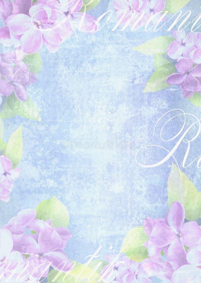 与精美淡紫色花的嫩轻的背景构成 库存例证
