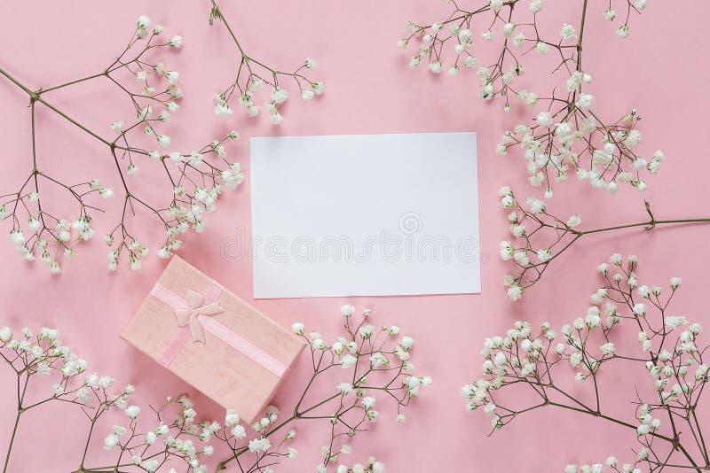 与精美矮小的白花框架的白纸卡片和 免版税库存照片