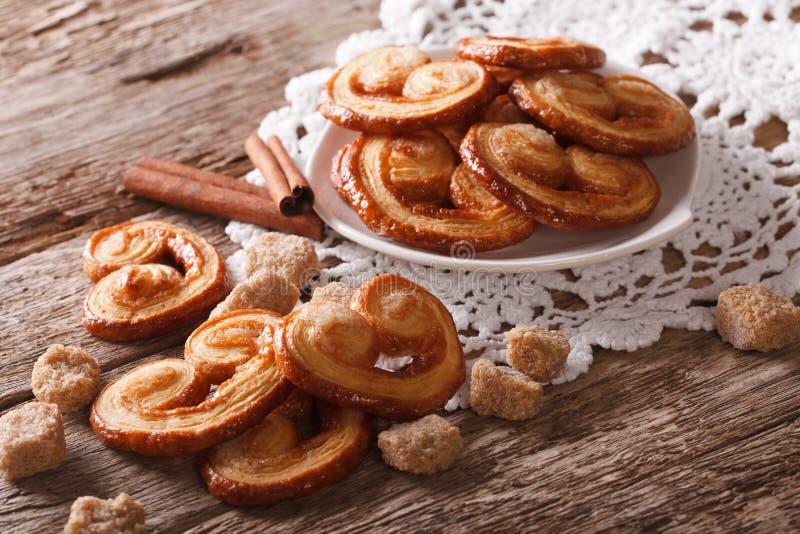 与糖和桂香特写镜头的Palmiers饼干,水平 免版税图库摄影