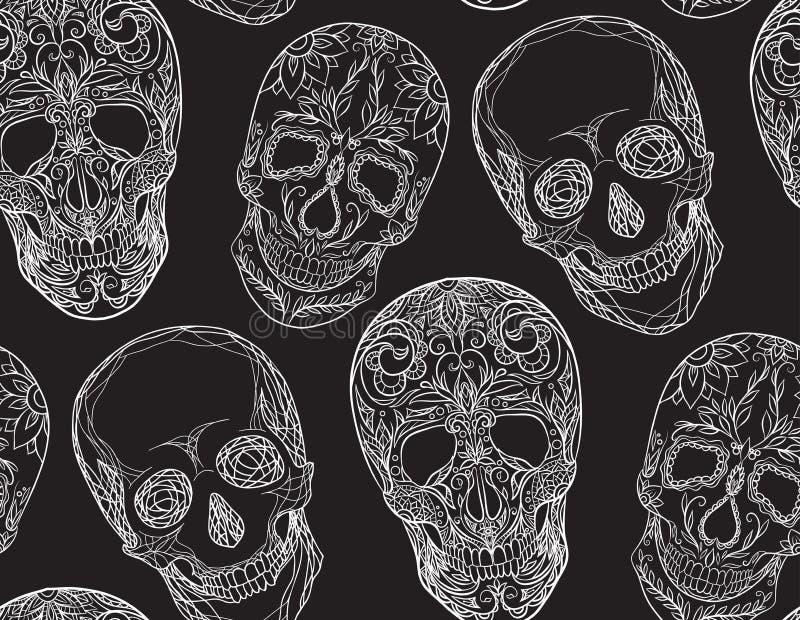 与糖头骨的等高例证的无缝的纹理 向量例证