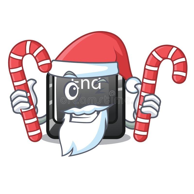 与糖果位于动画片键盘的末端按钮的圣诞老人 皇族释放例证