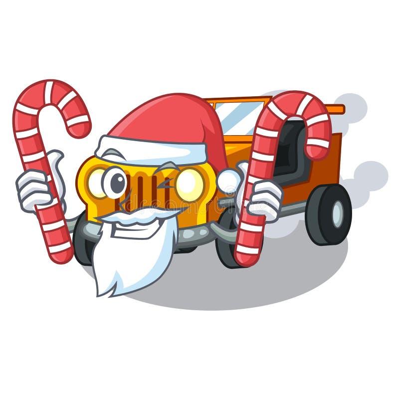 与糖果吉普动画片汽车的圣诞老人在前面赦免 库存例证
