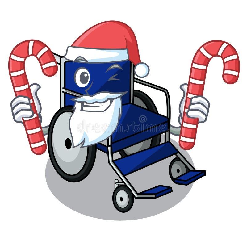 与糖果微型轮椅的圣诞老人吉祥人形状  库存例证