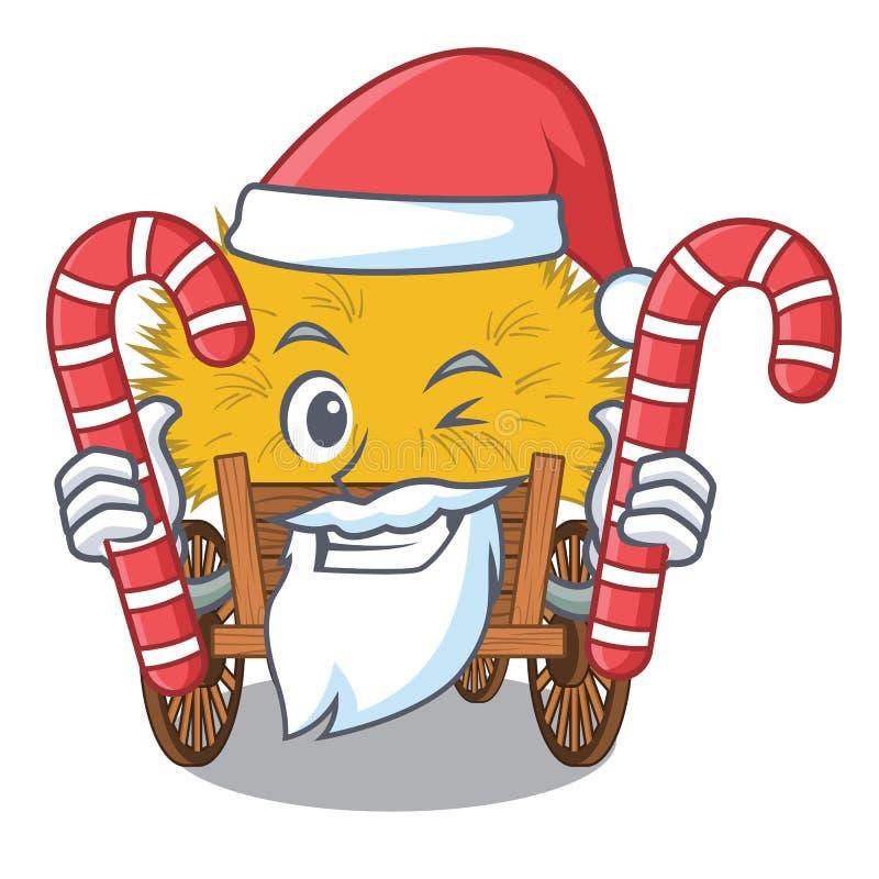 与糖果微型haydire的圣诞老人在动画片木桌上 皇族释放例证