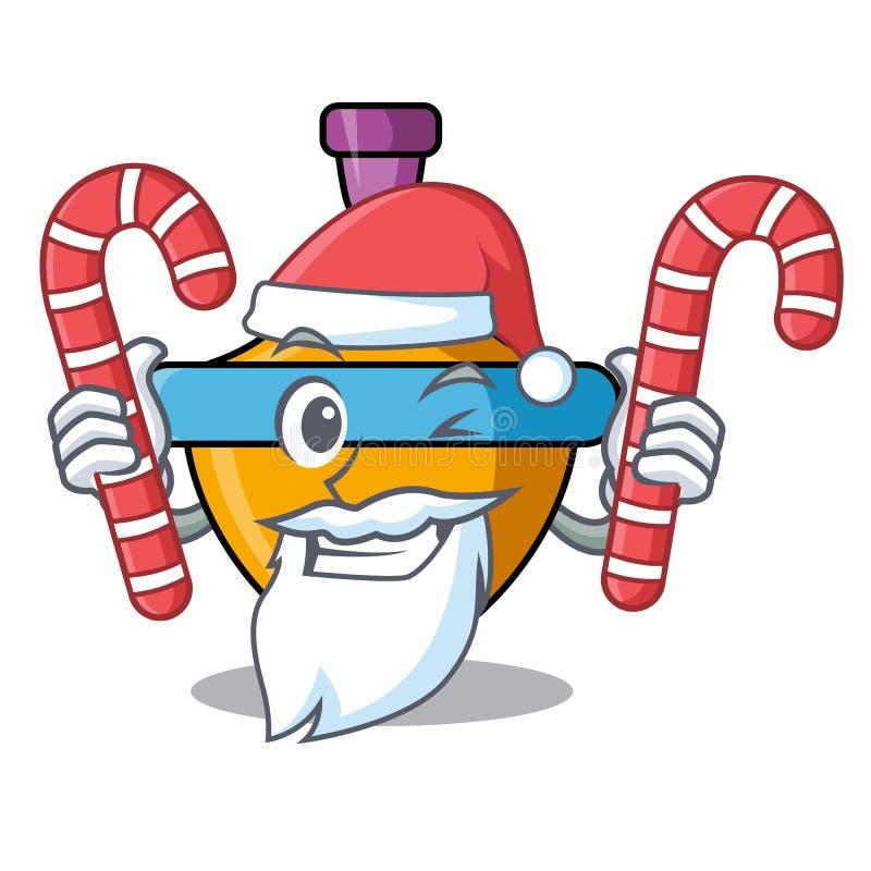 与糖果抽陀螺吉祥人动画片的圣诞老人 向量例证
