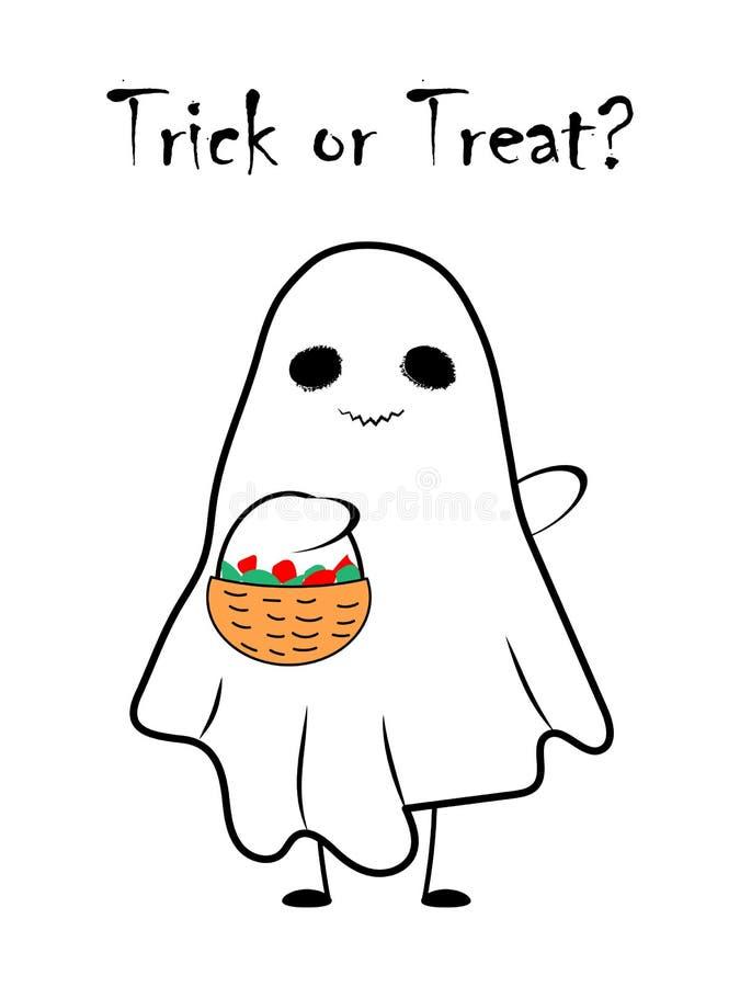 与糖果篮子的逗人喜爱的鬼魂  万圣节愉快的例证 向量例证