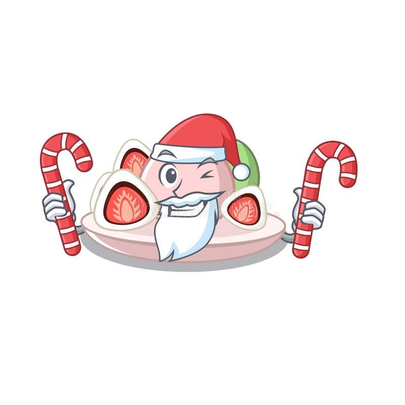 与糖果ichigo daifuku的圣诞老人在吉祥人碗服务 库存例证