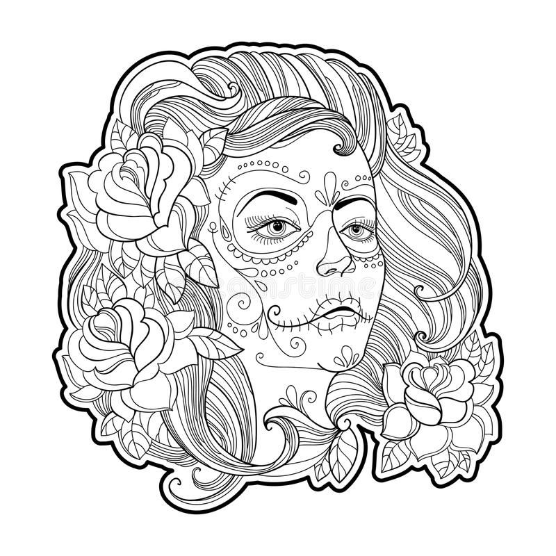 与糖头骨或Calavera卡特里纳构成的女孩在白色隔绝的面孔和玫瑰 为死者的墨西哥天导航例证 皇族释放例证