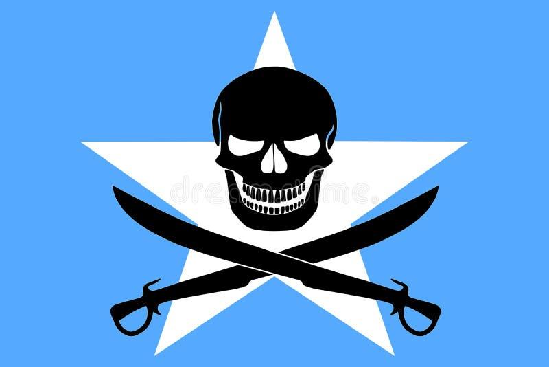 与索马里旗子结合的海盗旗子 图库摄影