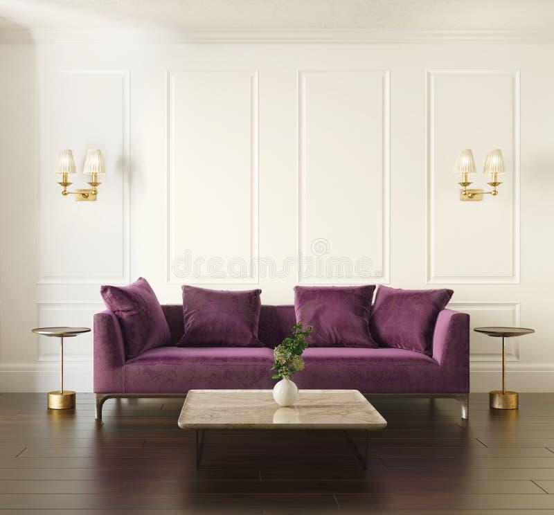 与紫罗兰色天鹅绒沙发的现代别致的经典内部 皇族释放例证