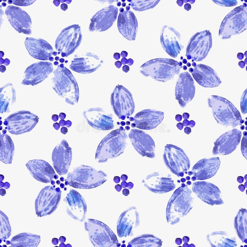 与紫罗兰色水彩花的无缝的春天样式 向量例证