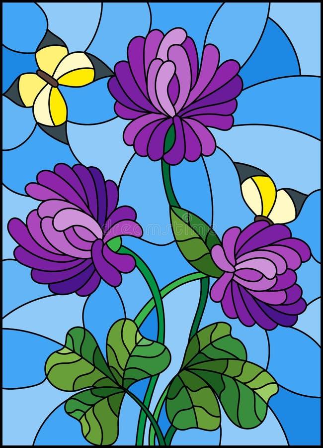 与紫色三叶草和黄色蝴蝶花束的彩色玻璃例证在天空背景 向量例证