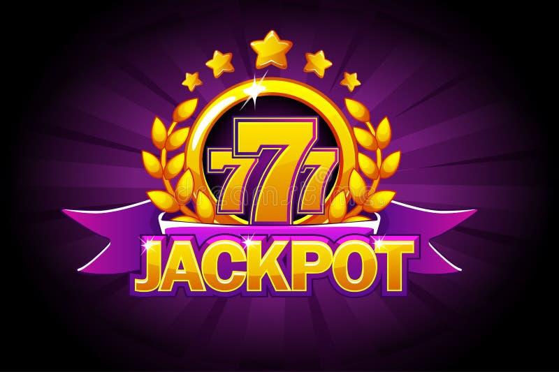 与紫色丝带、777个象和文本的困境横幅 赌博娱乐场、槽孔、轮盘赌和比赛的UI传染媒介例证 皇族释放例证