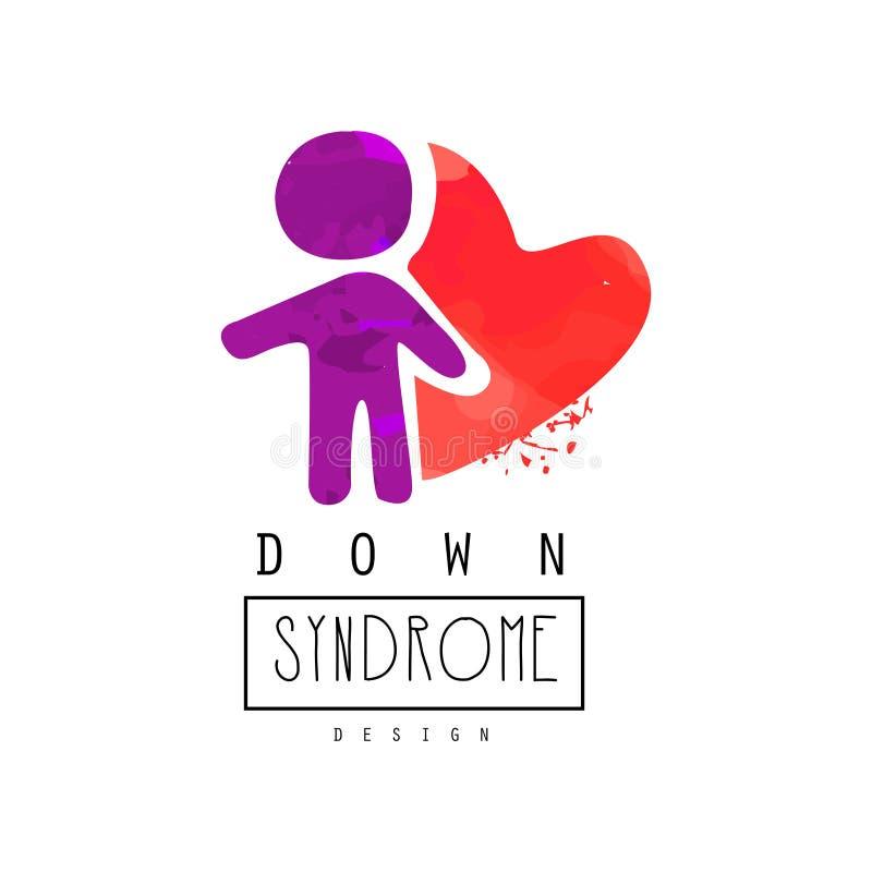 与紫色人和红色心脏的创造性的传染媒介商标 唐氏综合症 孤独性了悟天 小册子的,海报设计 向量例证
