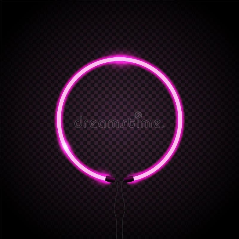 与紫色光线影响的霓虹圈子对黑暗的背景 向量例证