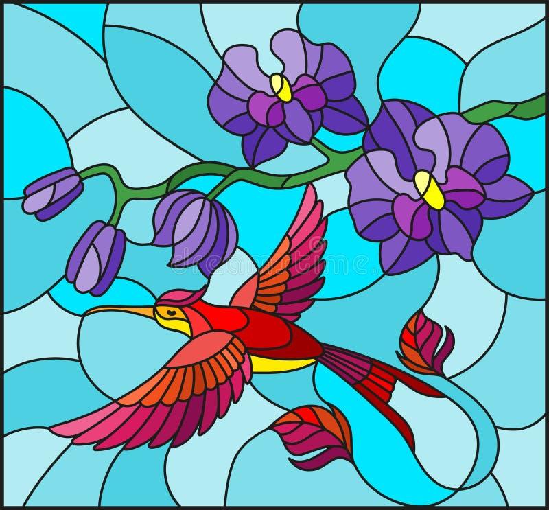 与紫色兰花和明亮的鸟蜂鸟分支的彩色玻璃例证在蓝色背景 库存例证