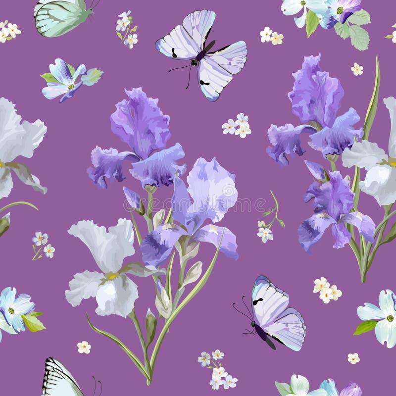 与紫色开花的虹膜花和飞行的蝴蝶的花卉无缝的样式 水彩织品的自然背景 向量例证