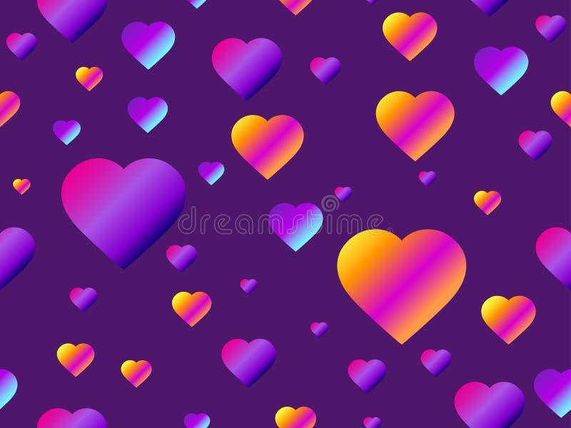 与紫色梯度的心脏无缝的样式 未来派现代趋向 向量 库存例证