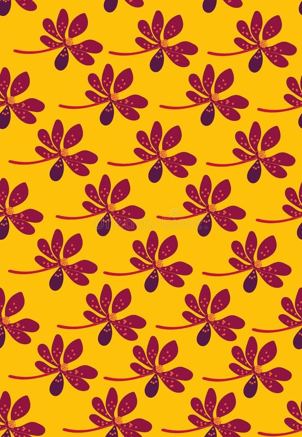 与紫色热带花行的无缝的传染媒介样式在黄色背景的 库存例证