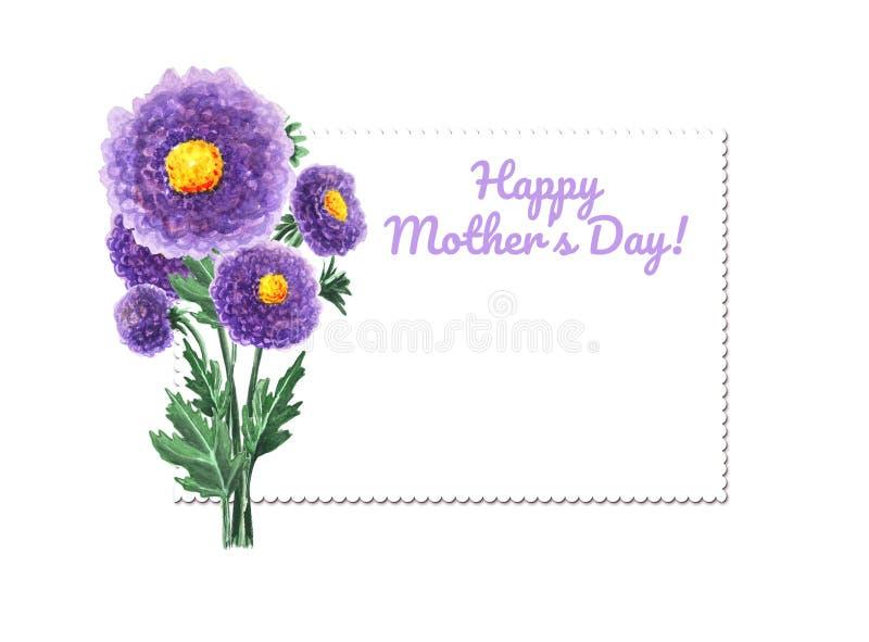 与紫色花的明亮的水彩卡片 在白色背景隔绝的菊花 您的邀请的植物的例证 向量例证