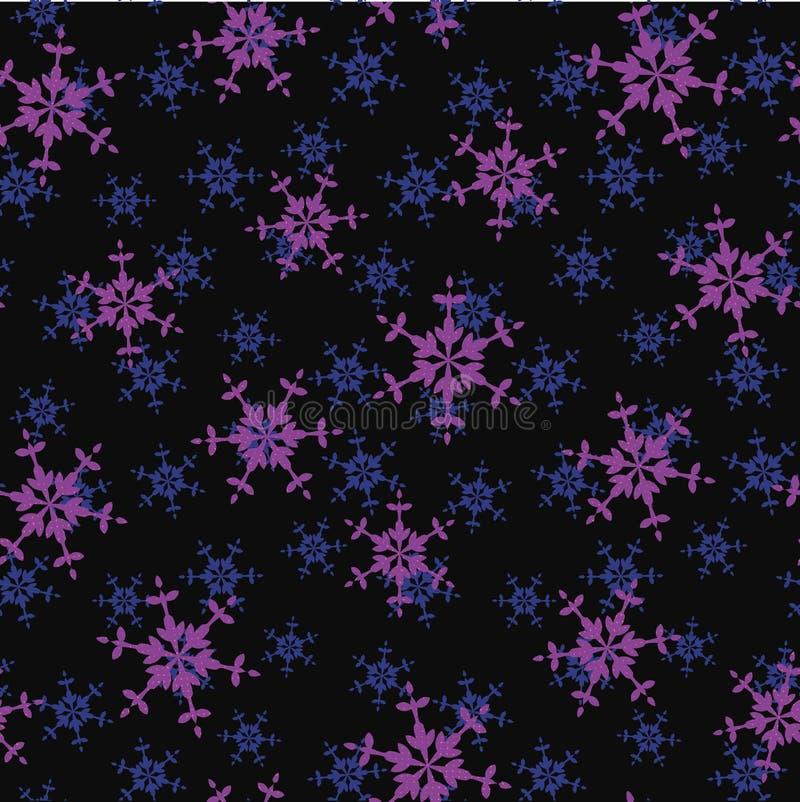 与紫色雪花的无缝的传染媒介样式在黑暗的背景 皇族释放例证