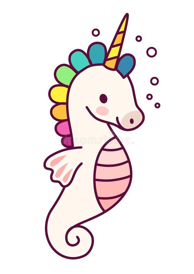 与紫色鬃毛简单的动画片传染媒介例证的逗人喜爱的独角兽 向量例证