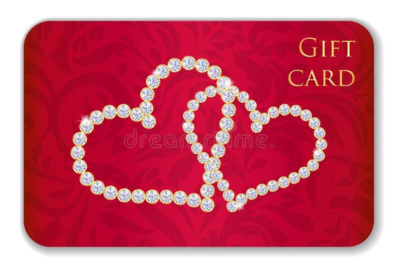与纠缠的心脏混合涂料的红色华伦泰礼品券 皇族释放例证