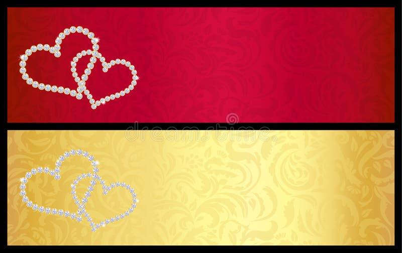 与纠缠的心脏的红色华伦泰礼品券 向量例证