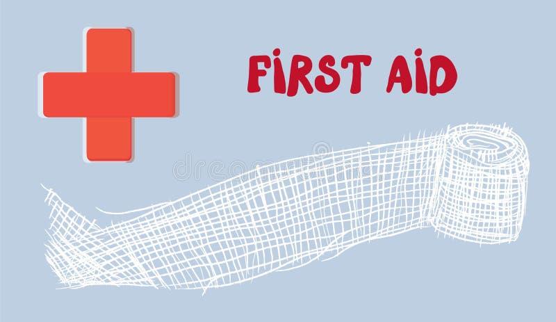 与红十字和绷带的急救横幅 库存例证