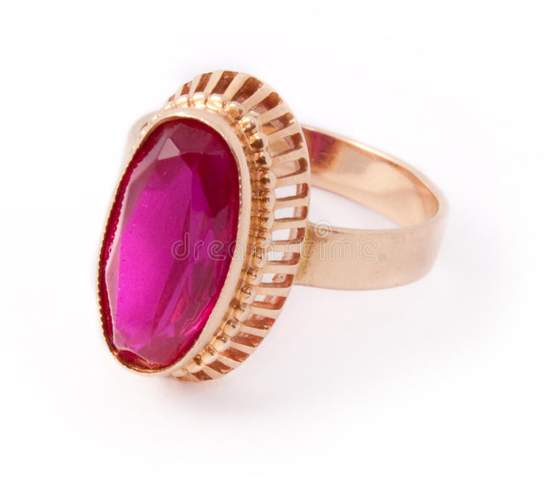 与红宝石的首饰圆环  免版税库存图片