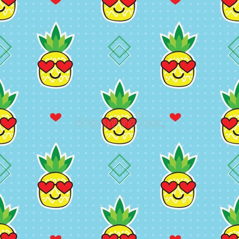 与红心太阳镜的逗人喜爱的黄色动画片菠萝emoji面孔在蓝色背景样式 库存例证