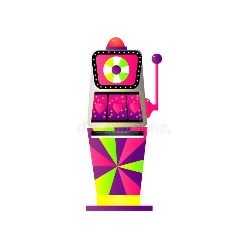 与红心的五颜六色的比赛老虎机粉色 向量例证