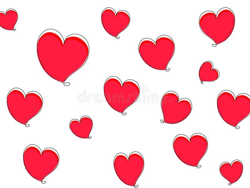 与红心的华伦泰背景 3D图表,美丽 向量例证