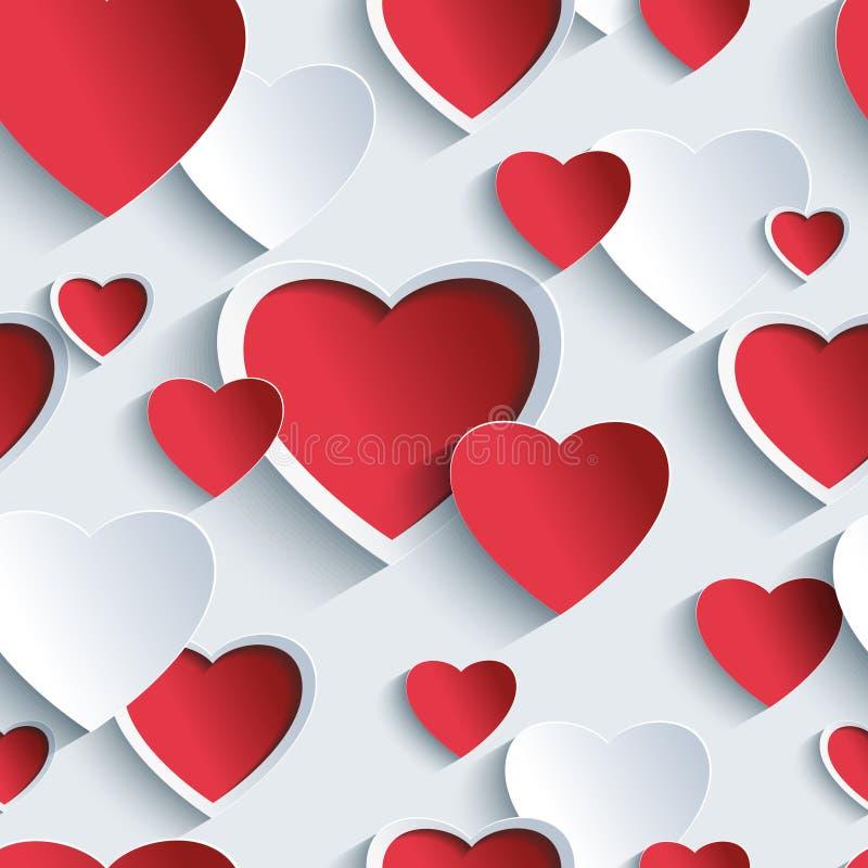 与红灰色3d心脏的情人节无缝的样式 向量例证