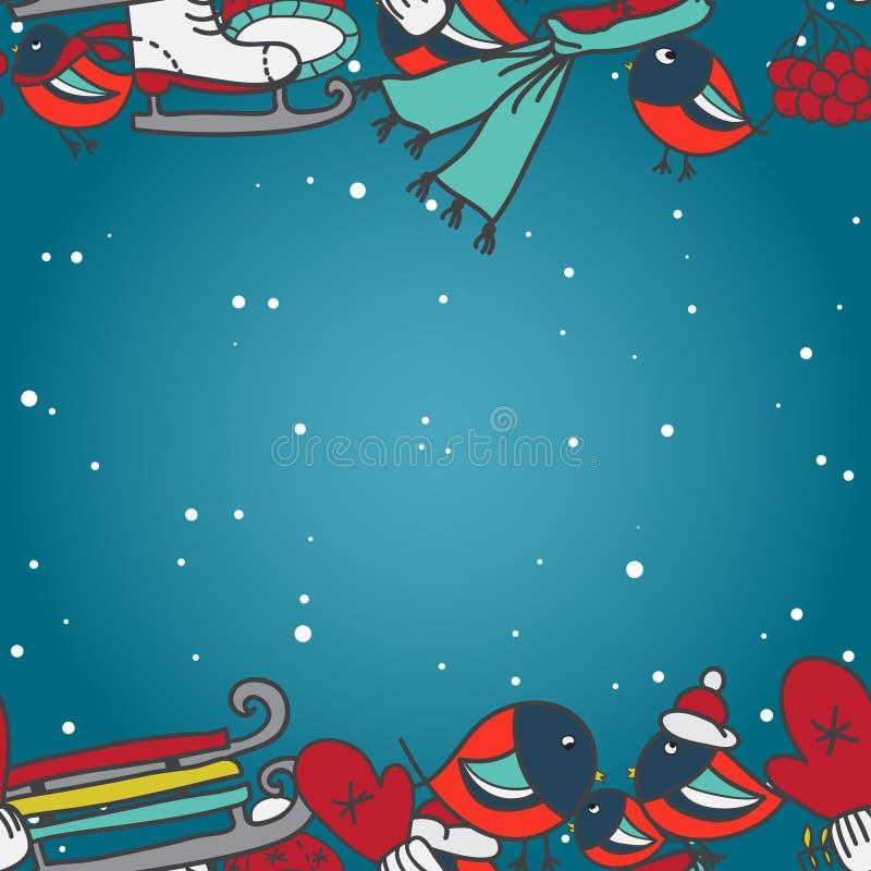与红腹灰雀和雪撬手套的冬天无缝的边界加盖冰鞋 皇族释放例证