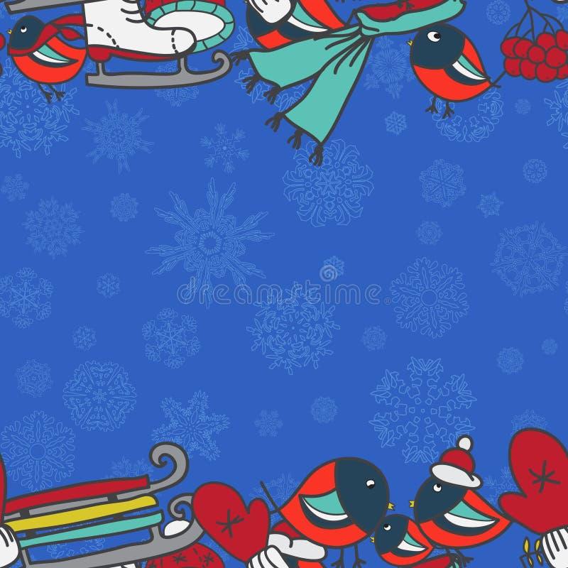 与红腹灰雀和雪撬手套的冬天无缝的边界加盖冰鞋 向量例证