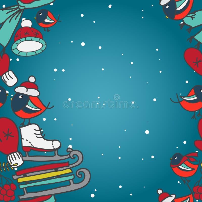 与红腹灰雀和雪撬手套的冬天无缝的边界加盖冰鞋 库存例证