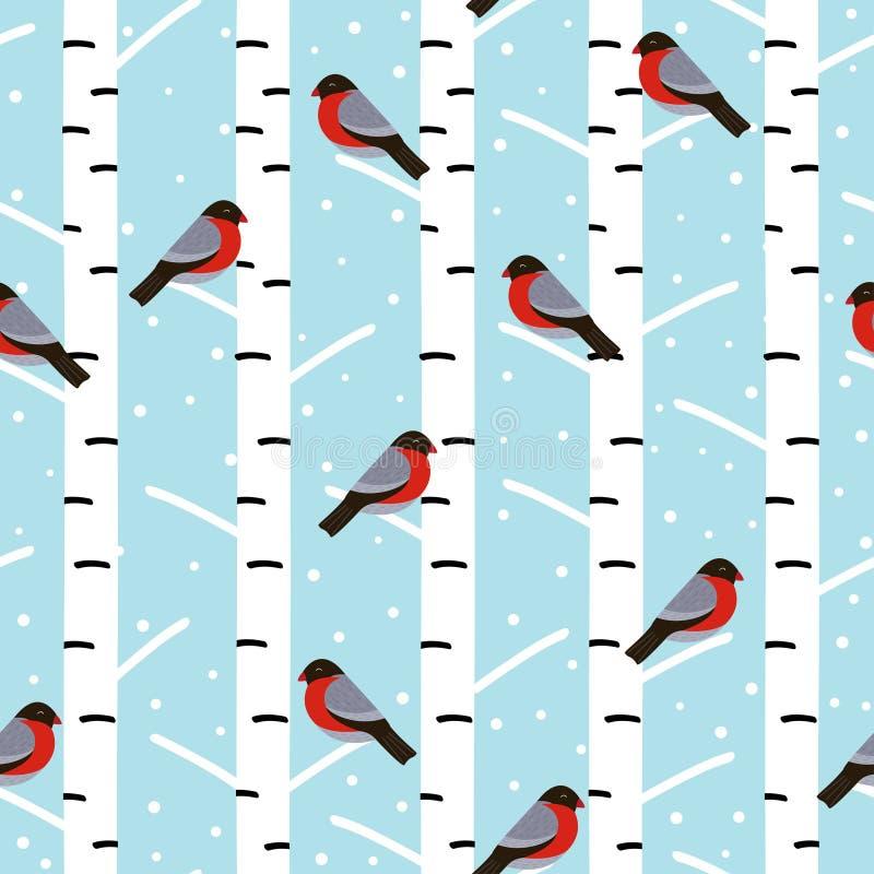与红腹灰雀的冬天无缝的样式在桦树 皇族释放例证