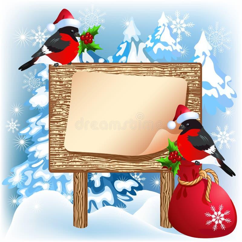 与红腹灰雀的圣诞节木牌和礼物请求 库存例证