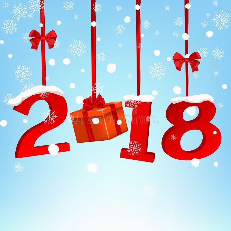 与红色丝带和弓的新年快乐2018圆的横幅,在白色背景 圣诞树装饰 2007个看板卡招呼的新年好 皇族释放例证