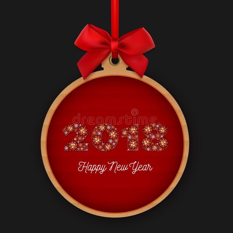 与红色丝带和弓的新年快乐2018圆的横幅 第2018做了雪花在红色背景 向量 库存例证