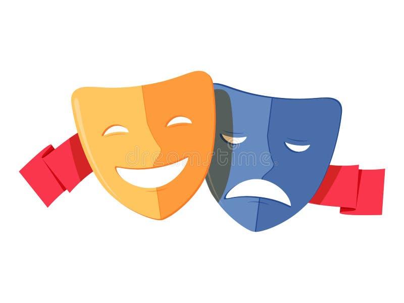 与红色丝带的传统剧院标志、喜剧和悲剧面具 黄色愉快和蓝色哀伤的面具象 皇族释放例证
